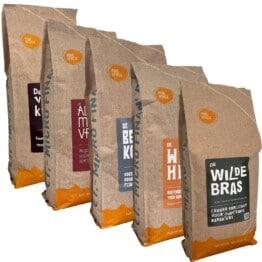 Koffiebonen proefpakket van Pure Africa met 5 x 500 gram Afrikaanse koffie
