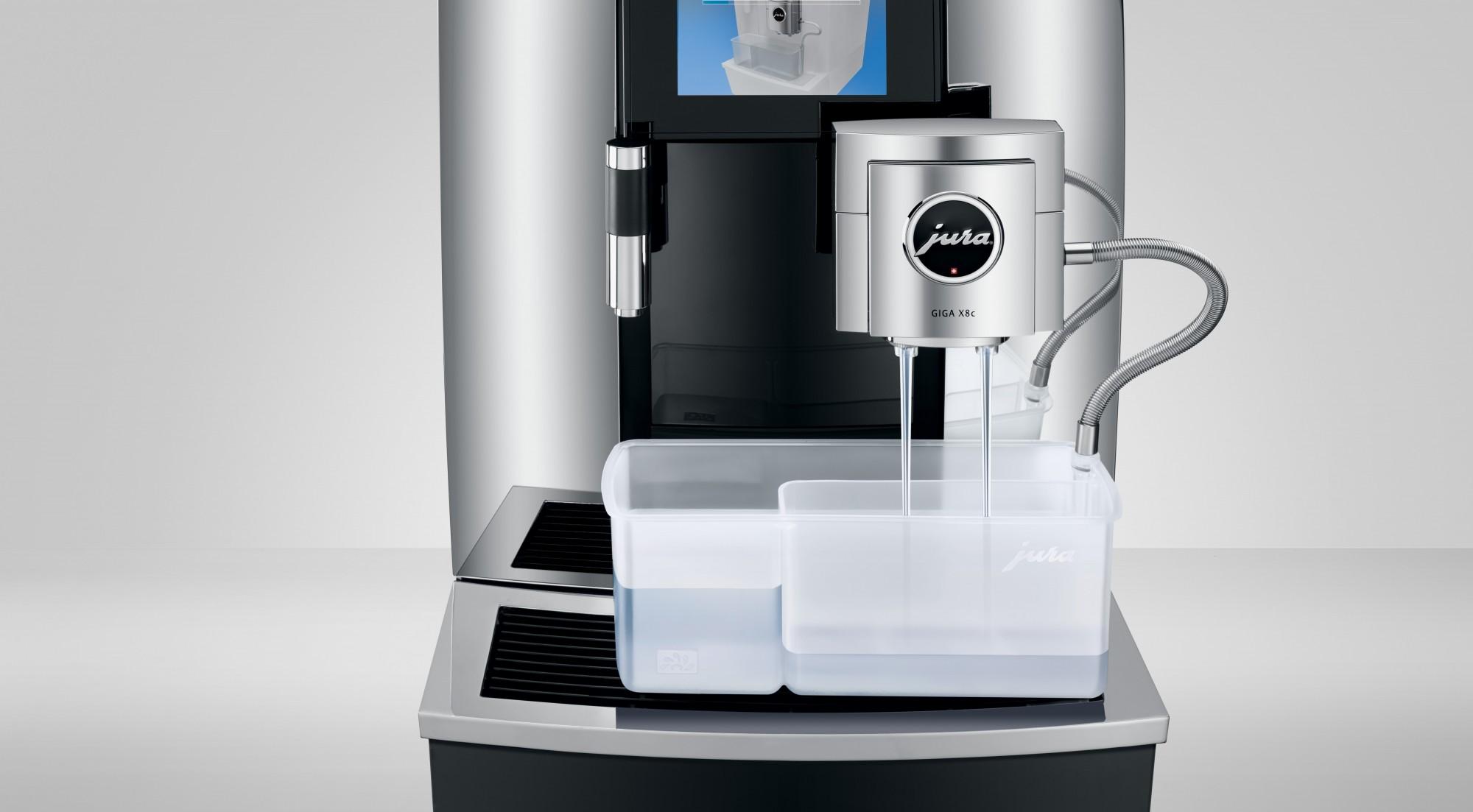 Het volautomatisch reinigen van het melksysteem van de koffiemachines voor kantoor